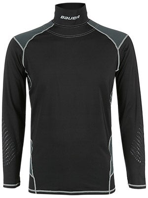 Bauer Premium Perf L/S Shirt w/Integrated Neck Top Sr