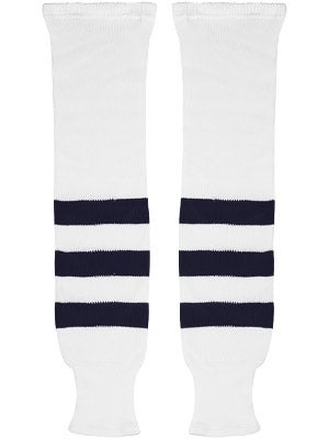 K1 White & Navy Ice Hockey Socks Jr