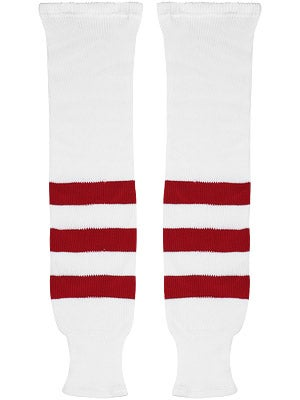 K1 White & Red Ice Hockey Socks Jr