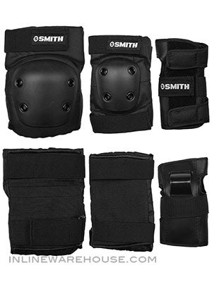 Smith Pads Youth Combo 3pk Knee Elbow Wrist Black